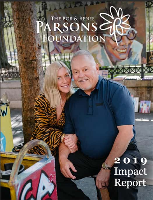 The Bob & Renee Parsons Foundation 2019 Impact report cover showing Mr and Mrs Parsons